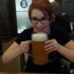 I drink a huge beer!